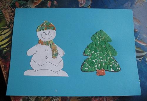 Новогодняя открытка Снеговик